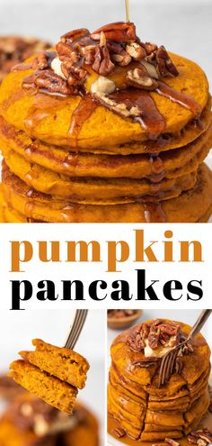 You need just 15 minutes and less than 10 ingredients to make these easy Vegan Pumpkin Pancakes! The perfect breakfast for mornings during the fall and holiday season. (Or whenever for pumpkin-lovers like me!) Fall Breakfast, Perfect Breakfast, Breakfast Ideas, Canned Pumpkin Pie Filling, Homemade Pumpkin Puree, Vegan Breakfast Recipes, Vegetarian Recipes, Vegan Pumpkin Pancakes, Vegan Whipped Cream