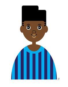 Items similar to Boy Art Print, African American Boy Art, Brown Skin Boy Illustration, Sports Fan Wall Art) on Etsy
