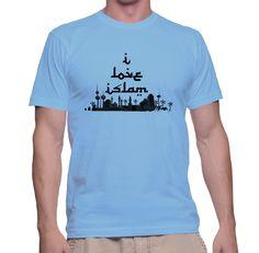 I Love Islam on Carolina Blue T Shirt