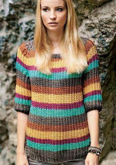 Пуловер в полоску по схеме вязания спицами