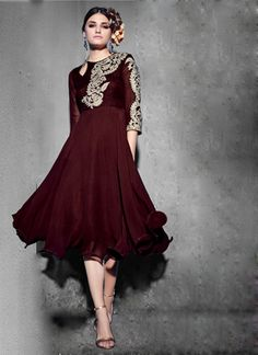 New Maroon Heavy Georgette Designer Kurtis Kurtas and Kurtis For Women on Shimply.com