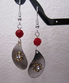 Dark Red Coral an Wavy Teardrop Earring by MoYuenCreations on Etsy, $12.00
