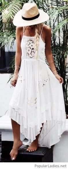 #spring #outfits Boho White Lace Maxi Dress & Beach Hat