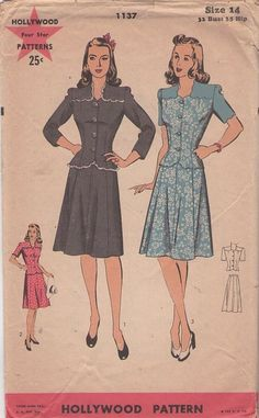 1943 Hollywood Starlet 2 piece dress, vintage sewing pattern, #MOMSPatterns -need to remember this sure for when I am in Asia and can have clothes custom made for me!
