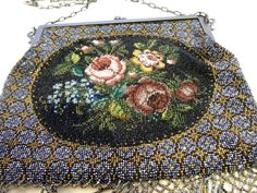 Antique Micro Beaded Purse Roses Gold Bullion Metallic Thread Beads Calling Card | eBay
