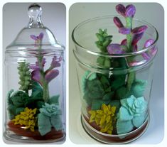 What a cute idea for needle felting! Much better than plastic plants or real plants that you end up killing....