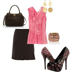 Love the skirt, color of the blouse and the fierce pink animal print heels.