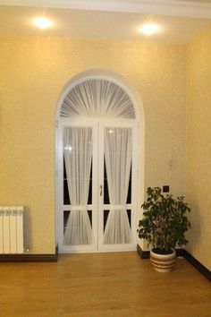 Curtains For Arched Windows, Door Curtains, Hanging Curtains, Grey Curtains Bedroom, Boston House, Curtain Designs, Curtain Ideas, Zen Space, Home Vegetable Garden
