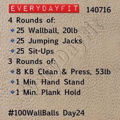 #EveryDayFit 140716 #wod #workout #crossfit #100wallballs