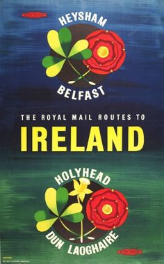 The royal mail routes to Ireland - Heysham Belfast - Holyhead Dun Laoghaire - 1960's - (Shearing) -