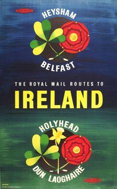 Ireland Heysham Belfast British Railways, 1960s - original vintage poster by Shearing listed on AntikBar.co.uk