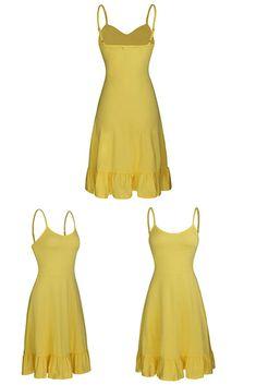 6bb32ecc73 OUGES Women s Adjustable Spaghetti Strap Sleeveless Summer Beach Slip Dress