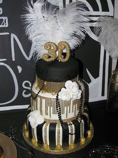 Roaring 20s Birthday Party - Great Gatsby party - 1920s - Gold, Black and White cake by: www.allthatfrost.com