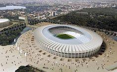 Maquete do Mineirão, estádio sede de jogos da Copa do Mundo de 2014. Em Belo Horizonte, Minas Gerais, Brasil.