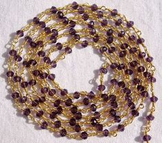 10 Feet Amethyst Hydro Seed Beads Chain 3.50mm 24k Gold Plated Gemstone Chain #Faceted