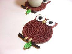 Owl Terracotta Coasters  Beverage Drink Tea Coffee by MariMartin, $20.00