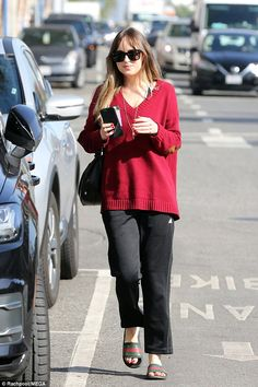 Comfortable style: Dakota Johnson, 28, stepped out on her own for her morning coffee run a...