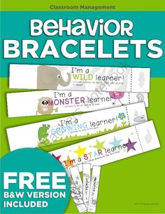FREE Behavior Bracelets from KindergartenWorks on TeachersNotebook.com -  (14 pages)  - Free, FUN printable bracelets to encourage positive behavior.