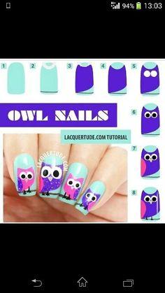 Diseños de uñas con búhos