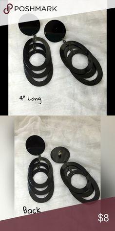 """Black Earrings Black metal ~~Light Weight ~~ Post Earrings ~~ 4"""" long~~  80's Jewelry Earrings"""