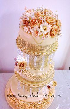 Gold wedding cake with lights and crystals at coastlands umhlanga
