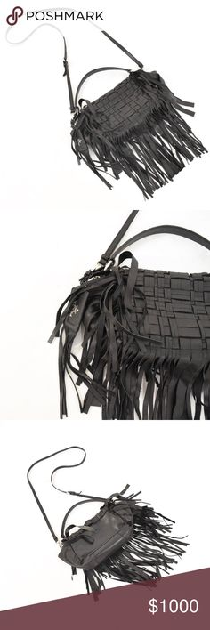 """100% Authentic PRADA Lace Leather Shoulder Bag Long, adjustable detachable shoulder strap and has a handle with a 5"""" drop. Style is a """"trapezoid"""" or a """"trapeze"""" bag. I have included a drawing of the style since it is hard to see exactly in my pictures. This style is super soft leather, so it doesn't stand up like a harder leather would. Laced leather flap with long fringe. Magnetic closure. No dustbag. Opening with magnetic closure. Small-to-medium size. 0ne tiny mark on the back - see last…"""