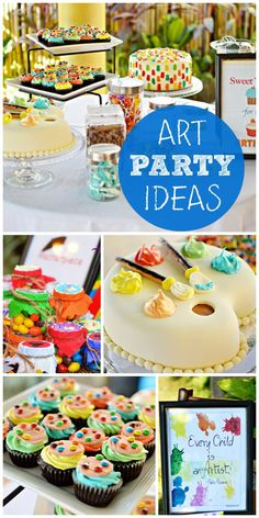A fun Art themed birthday party with palette cupcakes, cookies, birthday cake and colorful favors! This would be fun for all ages Playground Birthday Parties, 10th Birthday Parties, Birthday Cupcakes, Birthday Fun, Birthday Party Themes, Art Birthday Cake, Birthday Ideas, Birthday Quotes, Art Themed Party