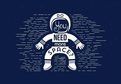 Vector Astronaut Typography Illustration, Designed for Web, Document, Greeting Card, Poster, Label and Other Decoration Surface