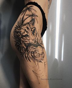 Blackwork tattoo on thigh by Darina Kirillova thigh tattoo Cute Tattoos, Beautiful Tattoos, Body Art Tattoos, Tattoos For Guys, Sleeve Tattoos, Tatoos, Side Hip Tattoos, Side Leg Tattoo, Leg Tattoos Women
