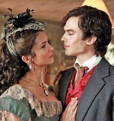 The Vampire Diaries: Nina Dobrev as Katherine Pierce & Ian Somerhalder as Damon Salvatore
