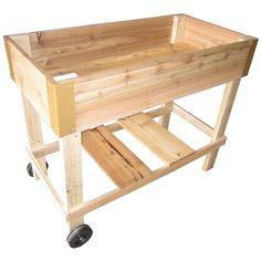 Raised Patio Garden Box Bed Planter w/ wheels CEDAR 2'x4'