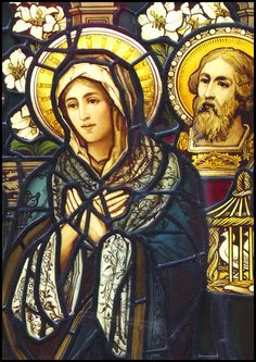 The Virgin Mary and Joseph - Stained glass - Stained Glass Church, Stained Glass Art, Stained Glass Windows, Mosaic Glass, Catholic Art, Religious Art, Church Windows, Blessed Mother Mary, Tiffany Glass