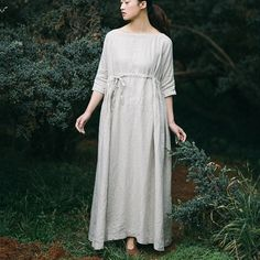 Women long sleeve cotton linen dress. Linen DressesKaftanCordonsMaxi Dress  With SleevesMaxi RobesFall DressesCotton LinenWomen s Fashion DressesPlus  Size ... 57fbf7d89cf7
