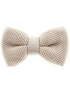 FLATSEVEN Mens Solid Color Knit Bow Tie Pre-Tied Basic Bowtie (YB503) Beige…