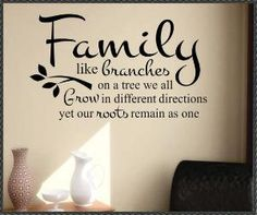 Vinyl Wall Lettering Family Like Branches Grow by WallsThatTalk