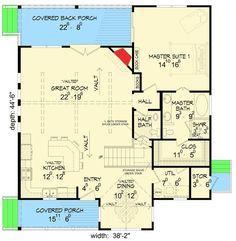 Back Woods 3 Bed House Plan - 68401VR floor plan - Main Level