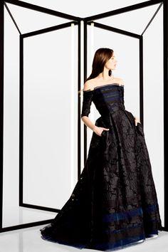 Carolina Herrera | Pre-Fall 2016 | 11 Black embroidered off shoulder maxi dress with blue stripes