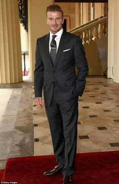 6/23/16*Dapper! David Beckham, 41, looked typically debonair as he arrived at Buckingham Palace, on Thursday, for the Queen's Young Leader Awards