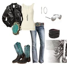 """turquoise biker"" by skphotoimages on Polyvore"