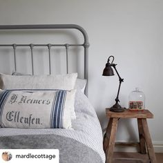 Our Oliver Bed is best-selling for a reason and here, our customer has created a beautifully cool and calm space with our Grey Oliver Bed. Cleverly paired bed linen, such as our Jasper Bed Linen, works perfectly. Linen Bedding, Duvet, Bed Linen, Metal Bedsteads, Decoration Bedroom, Tubular Steel, Ceiling Height, New Room, Wooden Furniture