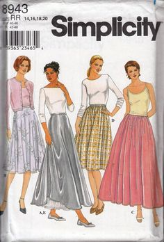 Simplicity 8943-Woman's Circular and Full Skirts, Petticoat Sewing Pattern UNCUT #Simplicity #clothingskirts