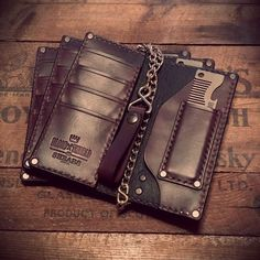 Custom Leather Wallet for the Old Familiar Comb Company Bottle Opening Metal Comb buy the comb here: http://oldfamiliarcombcompany.com/product/comb-bottle-opener/