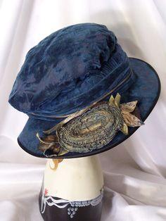Antique Blue Velvet Hat - 1910's.