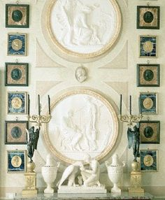 neoclassical vignette with Aegean green accents Casa Versace, Gianni Versace, Interior Inspiration, Design Inspiration, Design Ideas, Neoclassical Design, Interior Design Boards, Architectural Elements, Beautiful Interiors