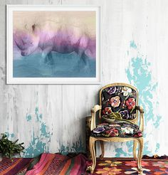 Extra large wall art Rhinoceros painting Large Watercolor