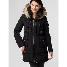 Woman jacket  Warm jacket with zipper. The cock has a hooded fur. On the front a few functional pockets. An ideal proposition for the coming season. https://www.cosmopolitus.com/kurtka-damska-model-410297-black-p-225070.html?language=en&pID=225070 #womens #winter #jacket #zip #hood #fur #heat #pockets #fashionable #cheap