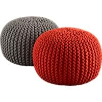 knitted poufs CB2 $79.95 This spring there will be more colors. Too bad the green one was sold out.