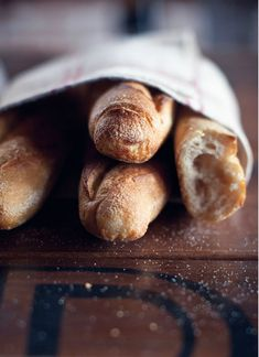 "Crispy fresh baguettes... I will never forget my job of picking up the family's ""pain"" each day in the centreville in France during my summer of living there..."