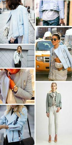 trend report, baby blue leather jacket, pastel blue zara leather jacket, inspirational board, fashion inspiration, fashion blogger, style blogger, college vintage zara leather jacket