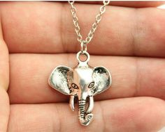 Elephant Pendant Necklace,  Antique Silver, Teen Girls, best friends gift by CharmSpinky on Etsy